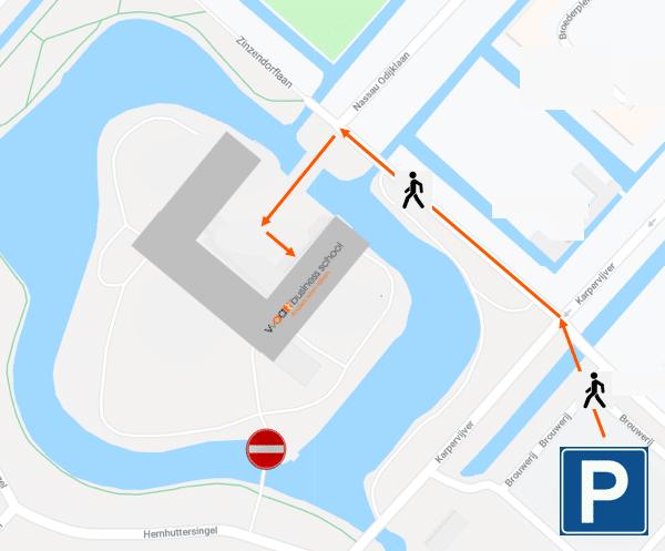 Route HMBS Vanaf parkeerterrein